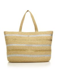 Eric Javits | Brown Sinclair Striped Metallic Woven Squishee Tote | Lyst