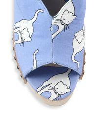 Miu Miu - Multicolor Cat-print Platform Clog Sandals - Lyst