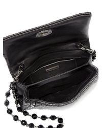Miu Miu | Black Crystal Matelasse Leather Fold-over Pochette | Lyst