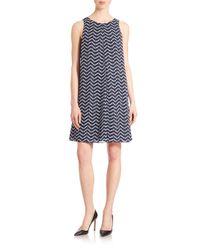 Armani - Black Sleeveless Herringbone Shift Dress - Lyst