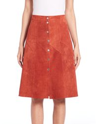 A.L.C. - Red Adrienne Suede Skirt - Lyst