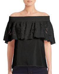 Tibi - Black Carmen Off-the-shoulder Top - Lyst