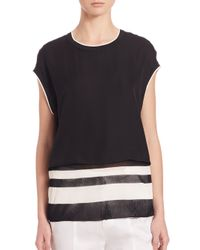 Vince - Black Double Layered Silk Top - Lyst