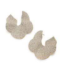 Adriana Orsini | Metallic Pave Crystal Flower Hoop Earrings/1.25 | Lyst