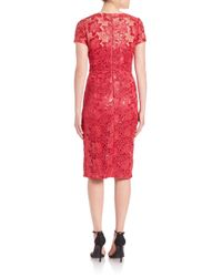David Meister - Red Sequin Lace Dress - Lyst