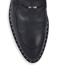 Frēda Salvador - Black Kind Leather D'orsay Penny Loafers - Lyst