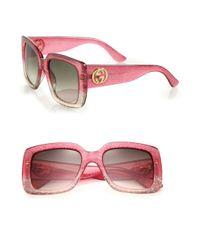 Gucci - Natural 53mm Oversized Square Glitter Sunglasses - Lyst