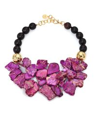Nest | Purple Jasper & Ebony Wood Beaded Bib Necklace | Lyst