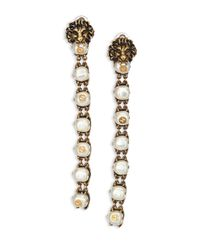 Gucci - Metallic Lion Head Faux Pearl Clip-on Drop Earrings - Lyst