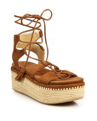 Stuart Weitzman Multicolor Romanesque Suede Platform Espadrille Sandals