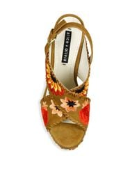 Alice + Olivia - Brown Giana Too Embroidered Suede Platform Slingback Sandals - Lyst