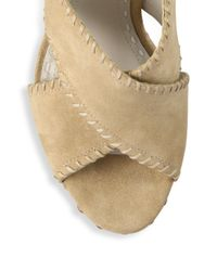 Alice + Olivia - Natural Giana Suede Platform Slingback Sandals - Lyst