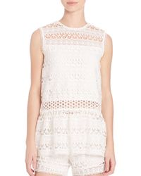 Alexis White Georgette Embroidered Tank