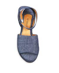10 Crosby Derek Lam - Blue Faye Denim Wedge Platform Sandals - Lyst