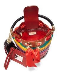 1d36e61af6 Lyst - Ferragamo By Sara Battaglia Multicolor Stripe Leather Bucket Bag