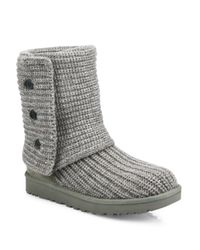 UGG | Gray Classic Cardy Knit Boots | Lyst