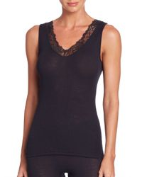 Hanro | Black Woolen Lace Tank Top | Lyst