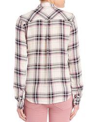 PAIGE Black Mya Plaid Button Front Shirt