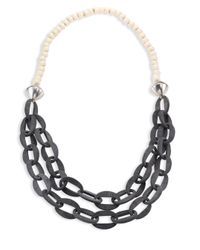 Nest | Metallic Horn & Bone Beaded Double-strand Link Necklace | Lyst
