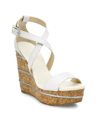 Jimmy Choo | White Portia 120 Leather Ankle-wrap Cork Wedge Sandals | Lyst