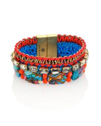 Tory Burch - Multicolor Macrame Magnesite & Leather Bracelet - Lyst