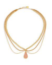 Chan Luu | Metallic Layered Chain & Agate Necklace | Lyst
