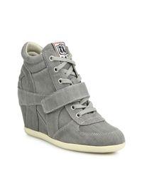 Ash - Gray Bowie Denim Wedge Sneakers - Lyst