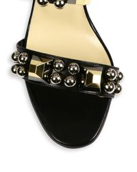 Christian Louboutin Black Pyrabubble Studded 70mm Red Sole Sandal