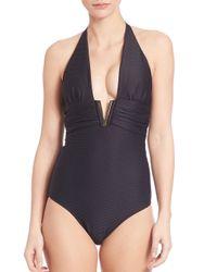 Heidi Klein - Black One-piece Ribbed Halter Neck Swimsuit - Lyst