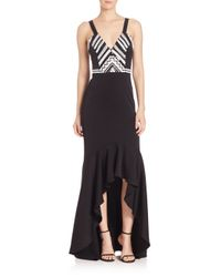 Shoshanna Black Midnight Geometric Beaded Gown