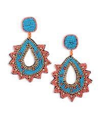 Kenneth Jay Lane | Blue Vibrant Beaded Teardrop Earrings | Lyst