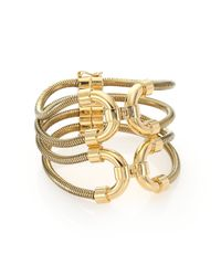 Lanvin - Metallic Snake Chain Cuff Bracelet - Lyst