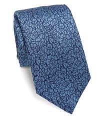 Saks Fifth Avenue | Blue Textured Floral Silk Tie for Men | Lyst