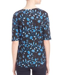 Rebecca Taylor - Blue Abstract-print Silk V-neck Tank - Lyst