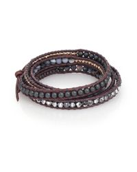 Chan Luu | Brown Grey Banded Agate, Hematite, Crystal & Leather Multi-row Beaded Wrap Bracelet | Lyst