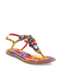 Dolce & Gabbana Multicolor Jeweled Thong Sandals