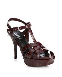 Saint Laurent | Brown Tribute Croc-embossed Leather Platform Sandals | Lyst