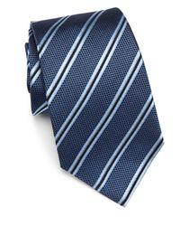 Armani | Blue Striped Silk Tie for Men | Lyst