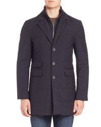 Saks Fifth Avenue | Blue Zipper Bib Quilted Wool Coat for Men | Lyst