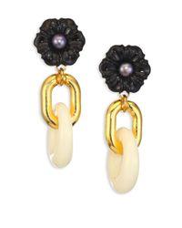 Lizzie Fortunato - Metallic Black Dahlia Cultured Freshwater Pearl Drop Earrings - Lyst