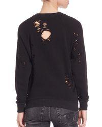 R13 Black Distressed Side-zip Sweatshirt