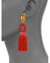Oscar de la Renta   Orange Silk Tasseled Drop Earrings   Lyst
