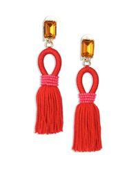 Oscar de la Renta | Red Silk Tasseled Drop Earrings | Lyst
