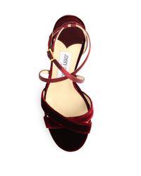 Jimmy Choo - Multicolor Lola 100 Velvet & Satin Crisscross Sandals - Lyst