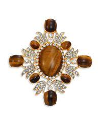 Kenneth Jay Lane Brown Crystal & Tiger Eye Pin