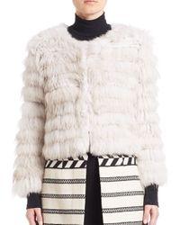 Alice + Olivia | Black Fawn Rabbit Slive Fox Fur Jacket | Lyst