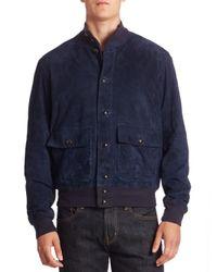 Polo Ralph Lauren | Blue Modern-fit Suede Baseball Jacket for Men | Lyst