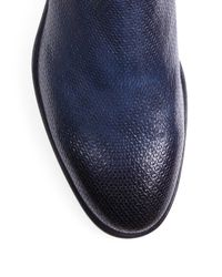 Santoni - Blue Shearling-lined Chelsea Boots for Men - Lyst