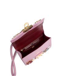 Dolce & Gabbana - Pink Floral-embellished Mini Flap Leather Shoulder Bag - Lyst