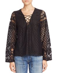 Tularosa | Black Lace Up Lace Blouse | Lyst